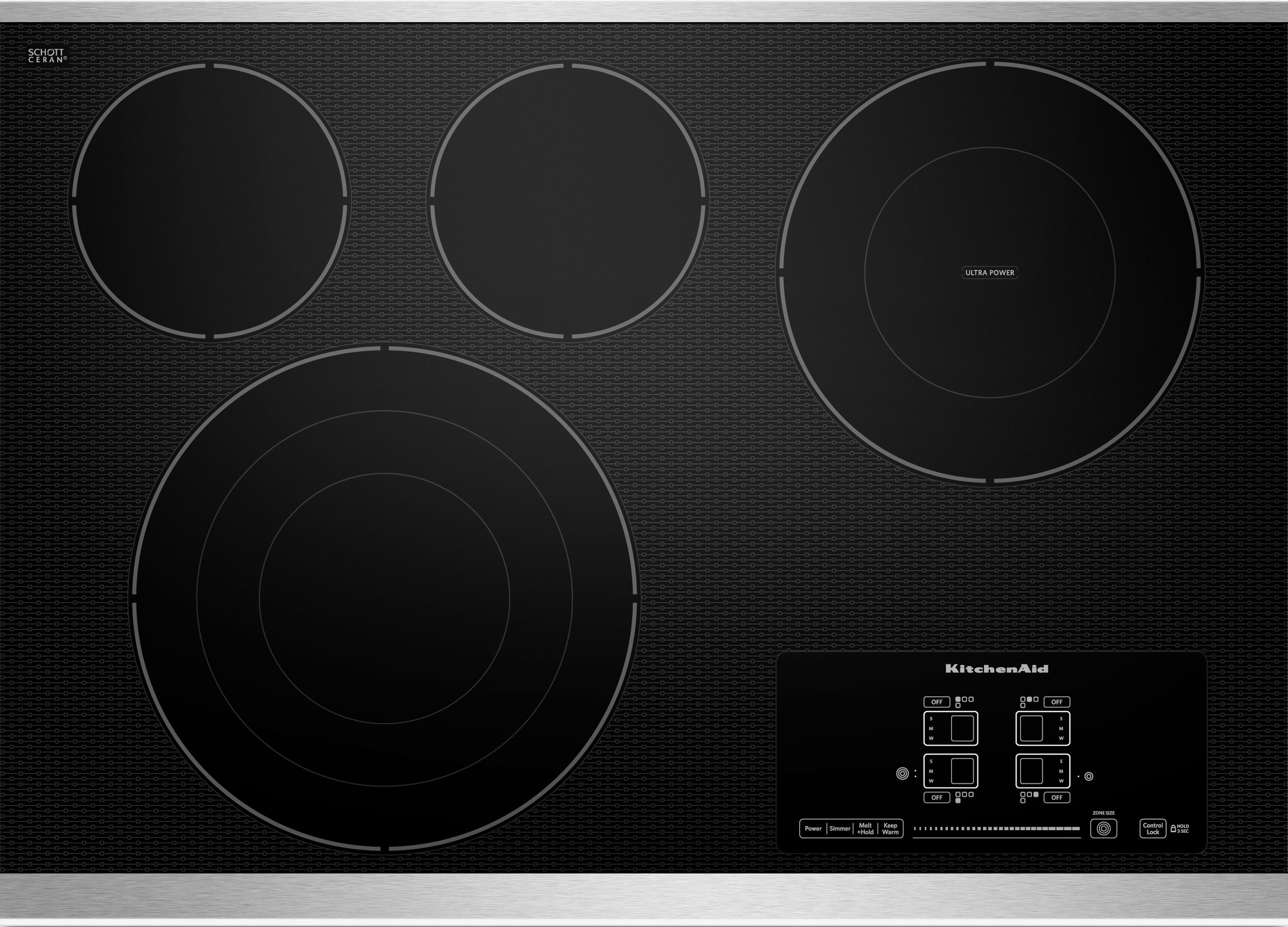 """KitchenAid Electric Cooktops - Kitchenaid 30"""" Built-In Electric Cooktop - Item Number: KECC607BSS"""