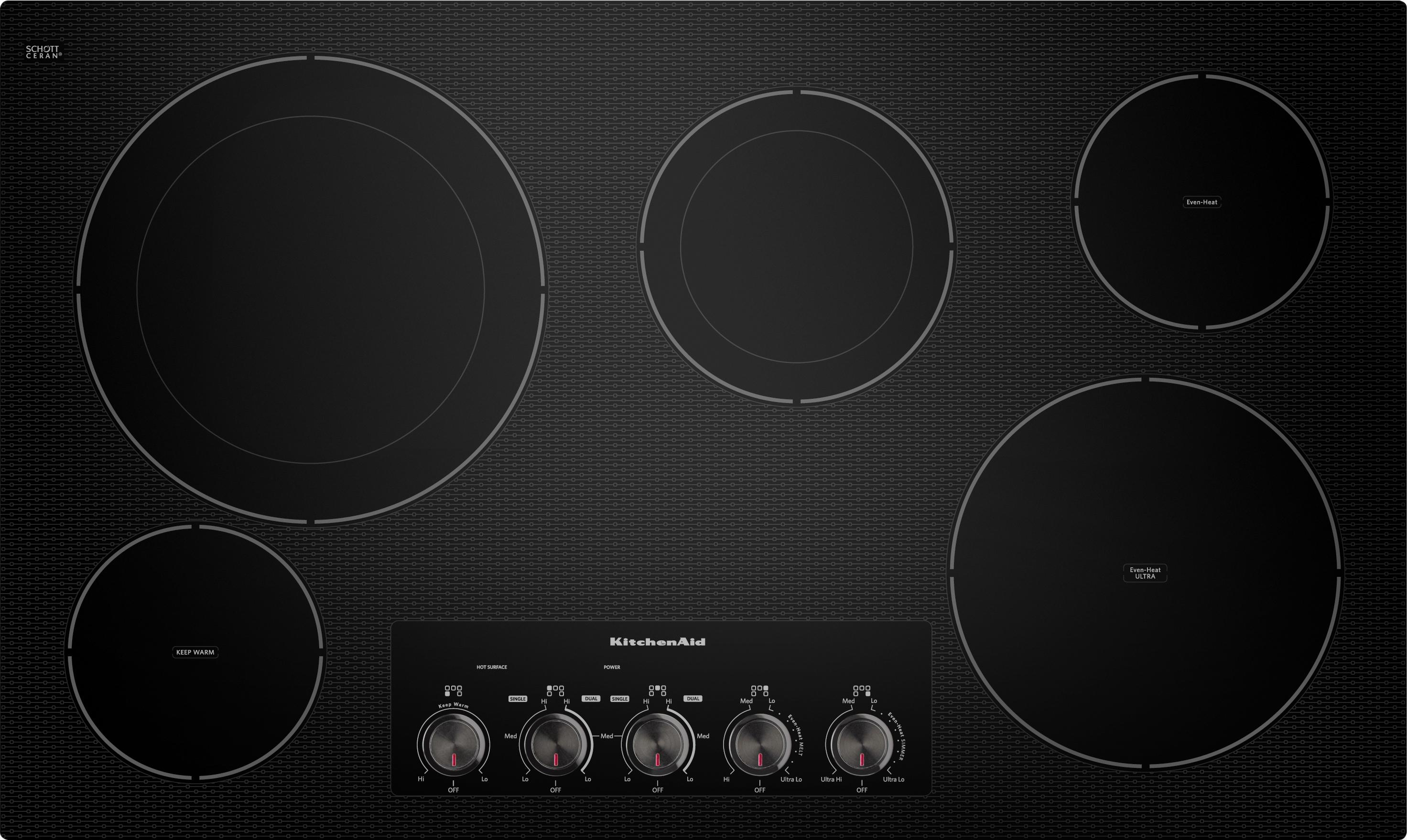 """KitchenAid Electric Cooktops 36 """" Built-In Electric Cooktop  - Item Number: KECC664BBL"""
