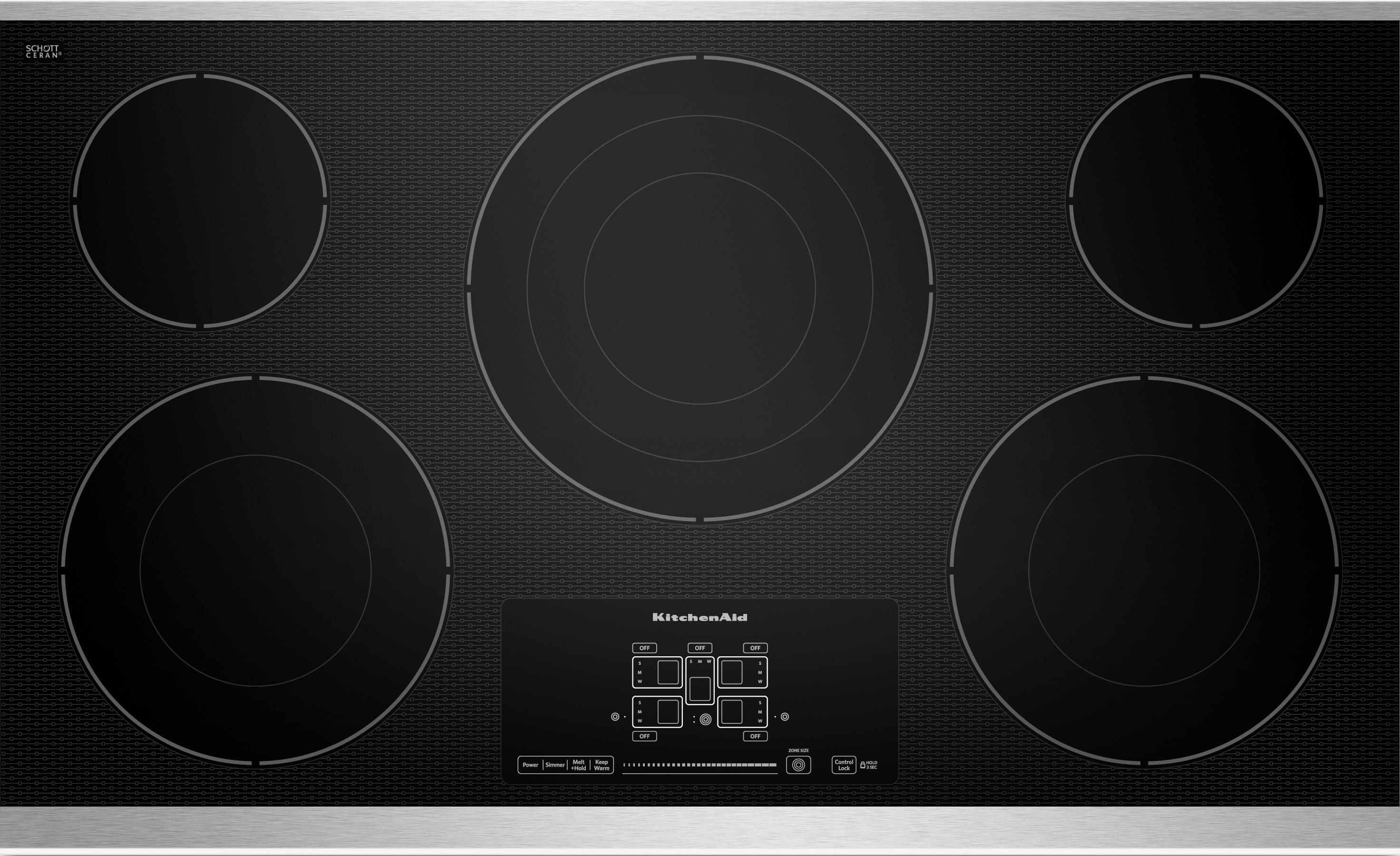 """KitchenAid Electric Cooktops - Kitchenaid 36"""" Built-In Electric Cooktop - Item Number: KECC667BSS"""