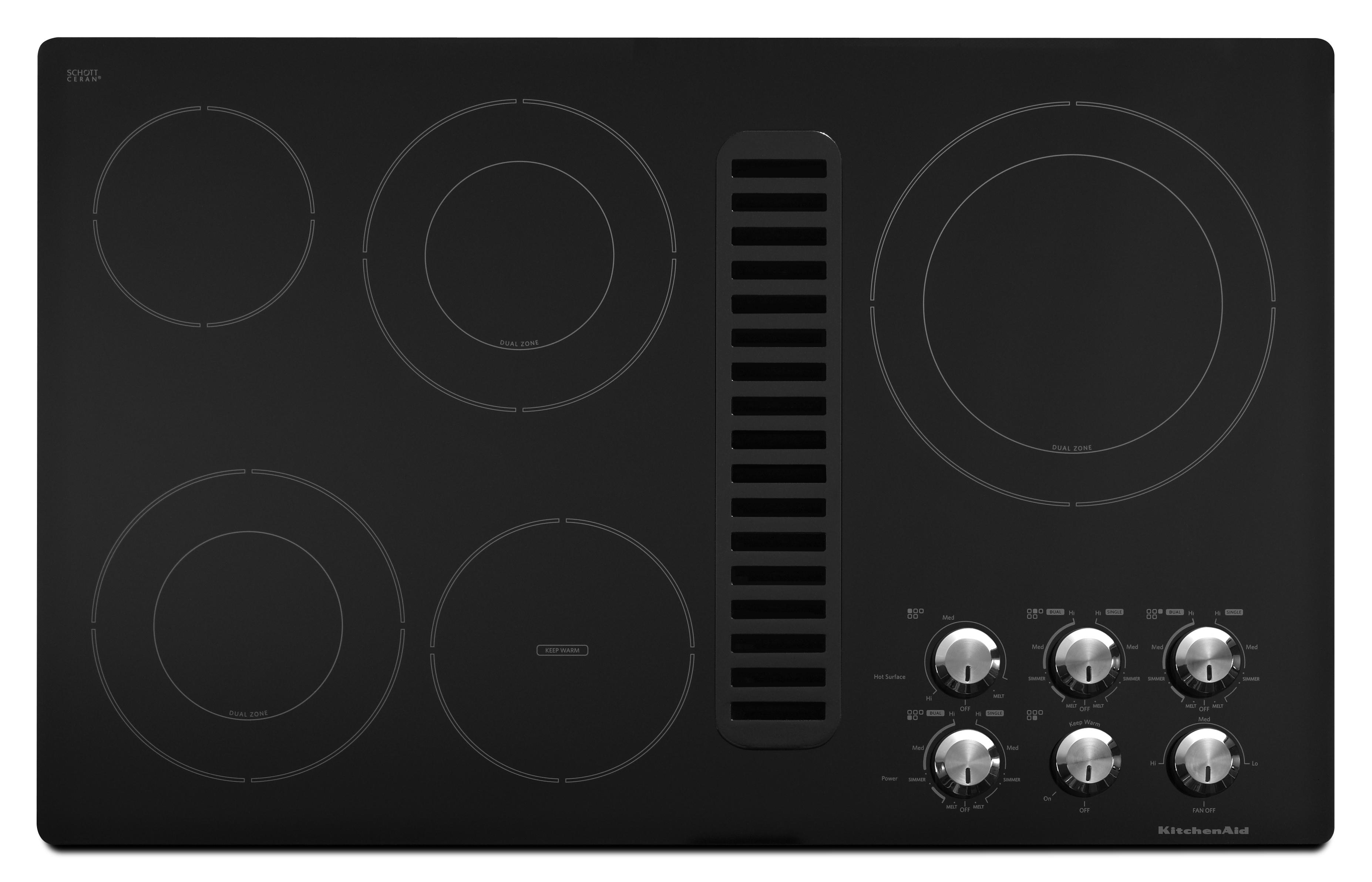 """KitchenAid Electric Cooktops 36"""" Built-In Electric Cooktop - Item Number: KECD867XBL"""