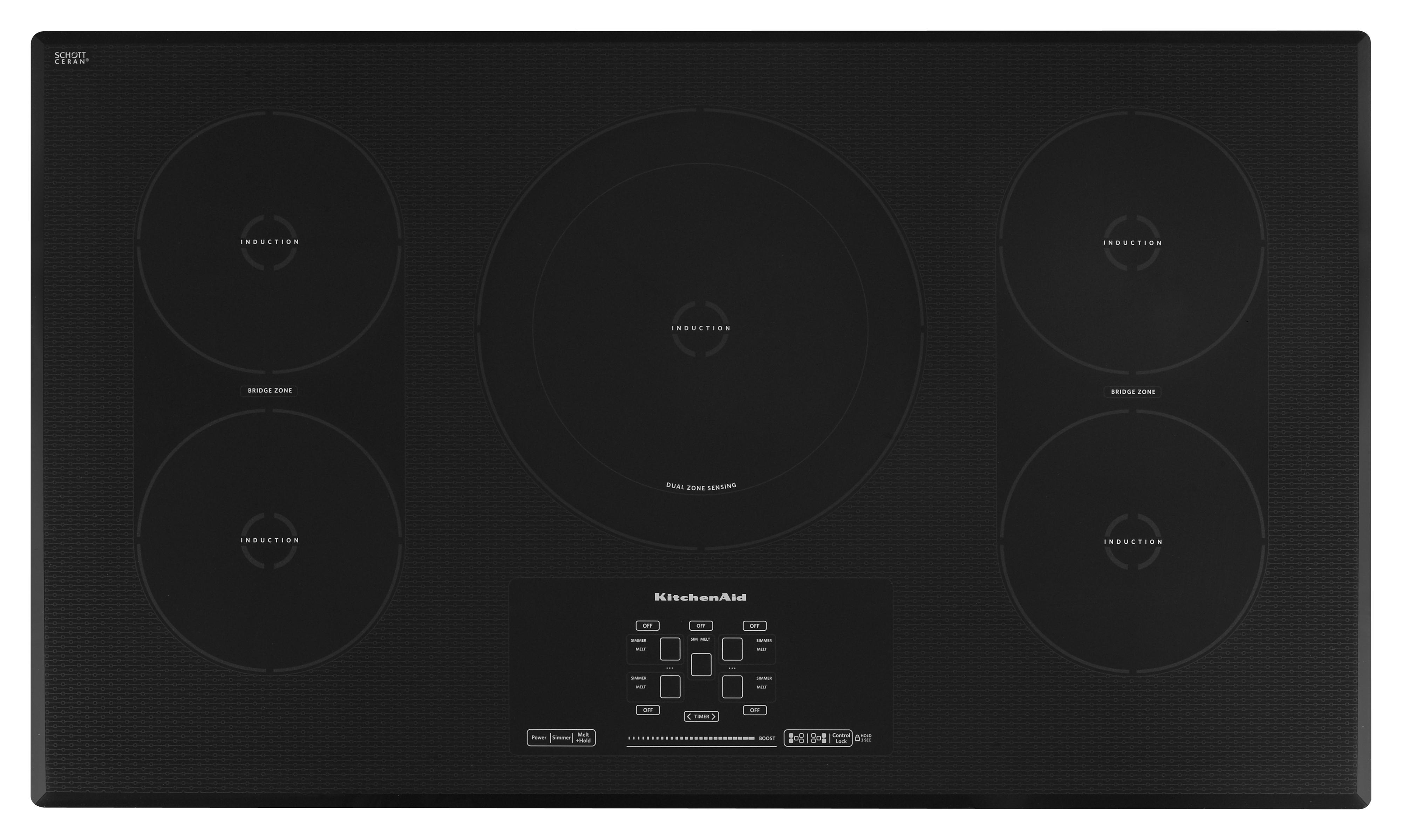 """KitchenAid Electric Cooktops 36"""" Induction Electric Cooktop - Item Number: KICU569XBL"""