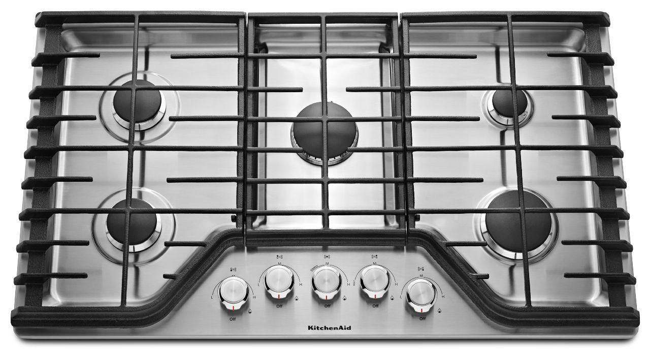 KitchenAid Gas Cooktops 36'' 5-Burner Gas Cooktop - Item Number: KCGS356ESS