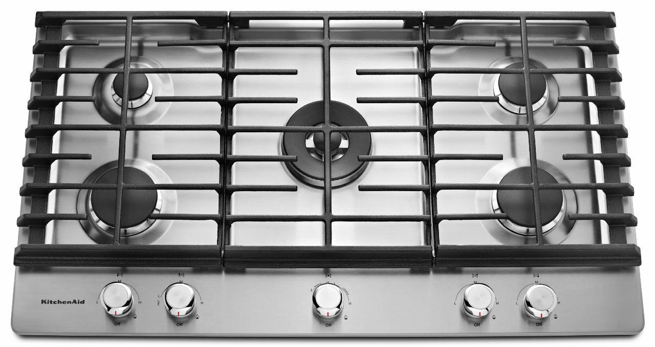 KitchenAid Gas Cooktops 36u0027u0027 5 Burner Gas Cooktop   Item Number: KCGS556ESS