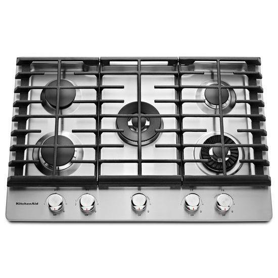 KitchenAid Gas Cooktops 30'' 5-Burner Gas Cooktop - Item Number: KCGS950ESS