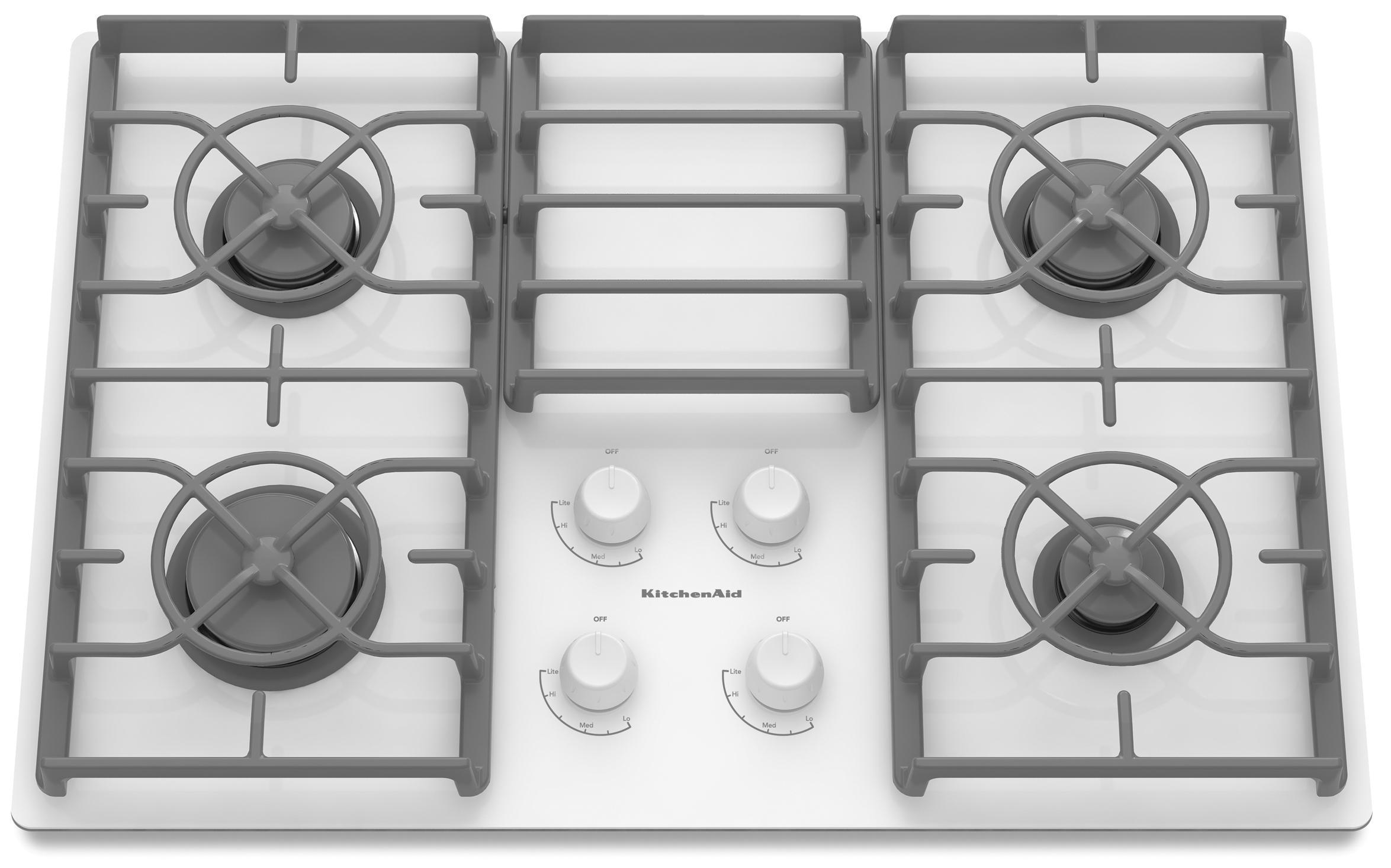 "KitchenAid Gas Cooktops 30"" Built-In Gas Cooktop - Item Number: KGCC506RWW"