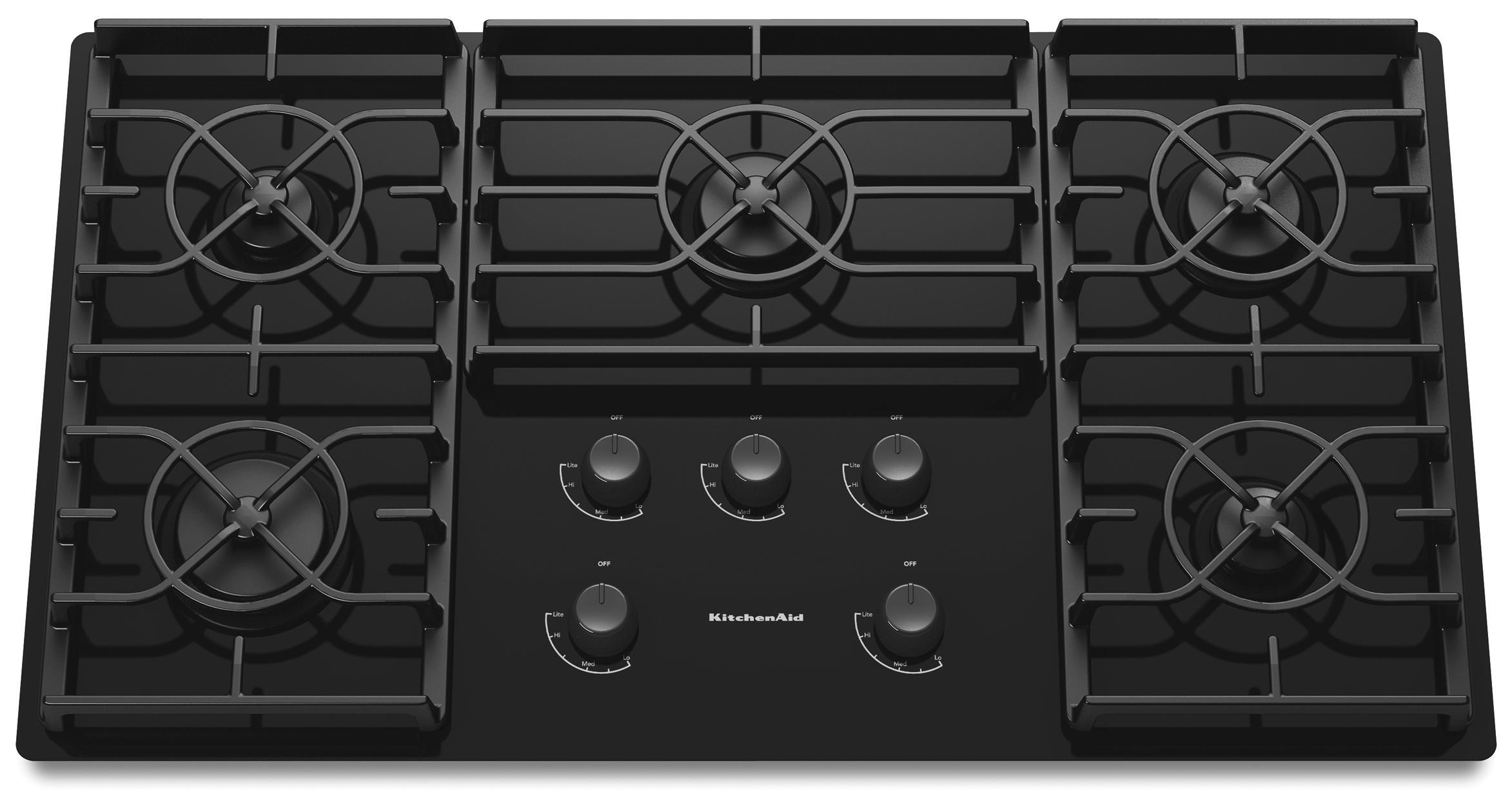 "KitchenAid Gas Cooktops 36"" Built-In Gas Cooktop - Item Number: KGCC566RBL"