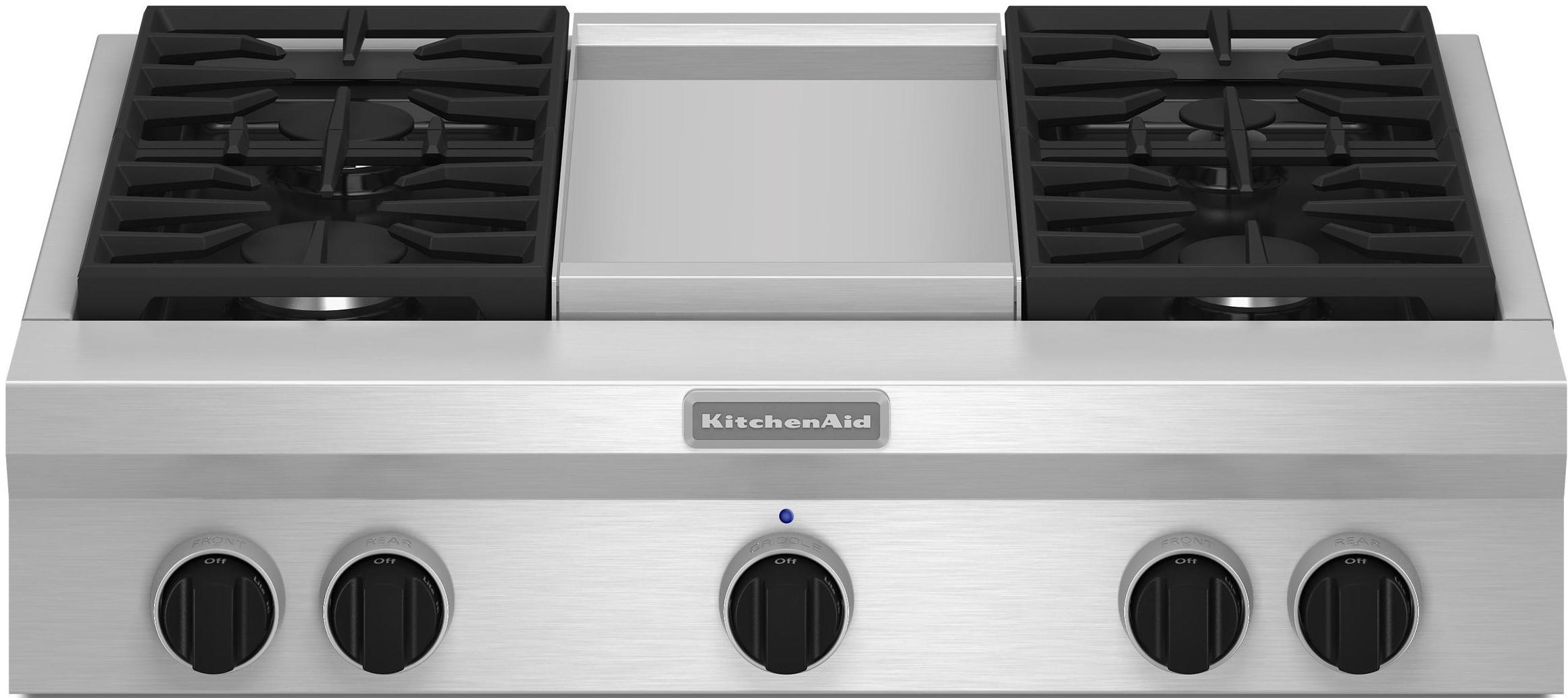 "KitchenAid Gas Cooktops 36"" Built-In Gas Cooktop - Item Number: KGCU463VSS"