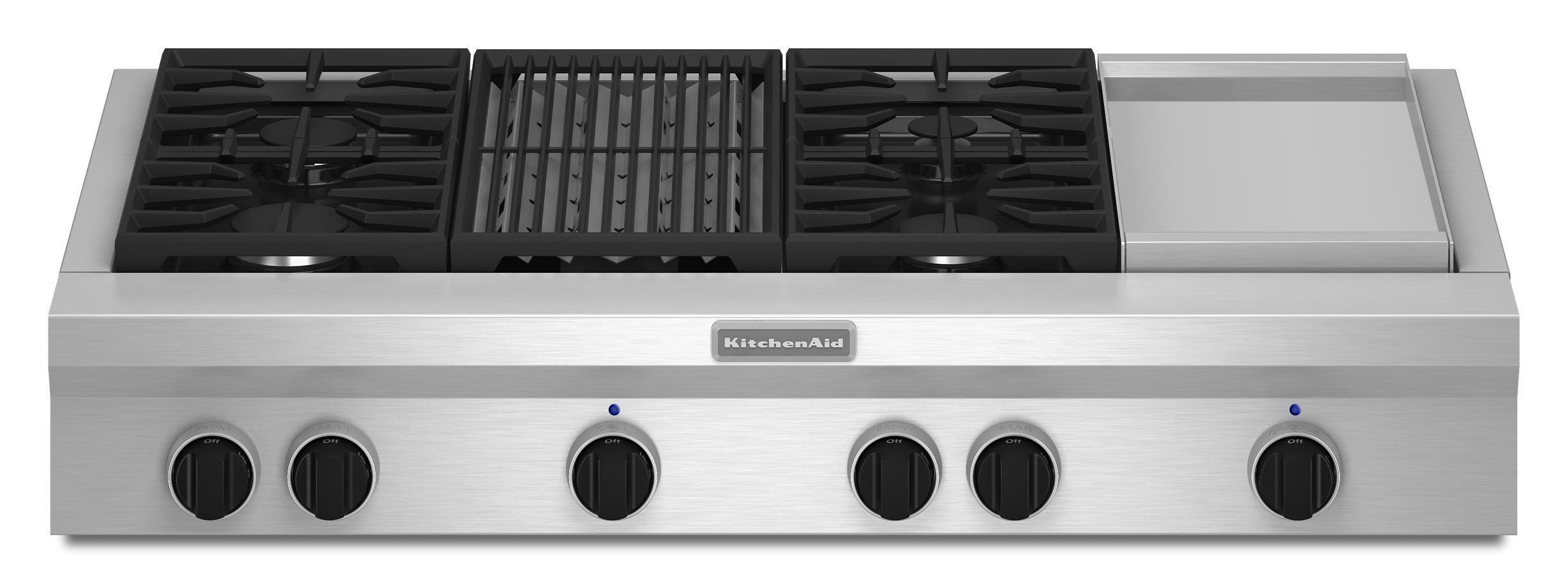 "KitchenAid Gas Cooktops 48"" Built-In Gas Cooktop - Item Number: KGCU484VSS"