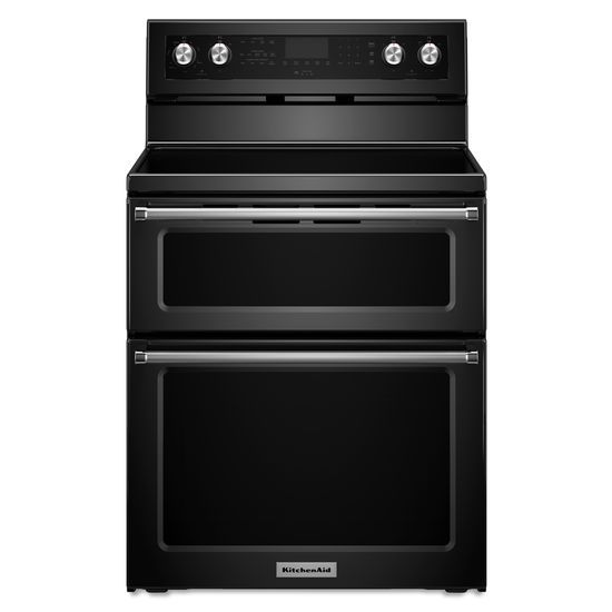 KitchenAid KitchenAid Electric Ranges 30-Inch 5 Burner Electric Double Oven Convec - Item Number: KFED500EBL
