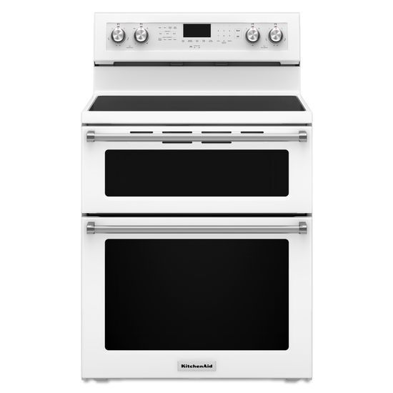 KitchenAid KitchenAid Electric Ranges 30-Inch 5 Burner Electric Double Oven Convec - Item Number: KFED500EWH