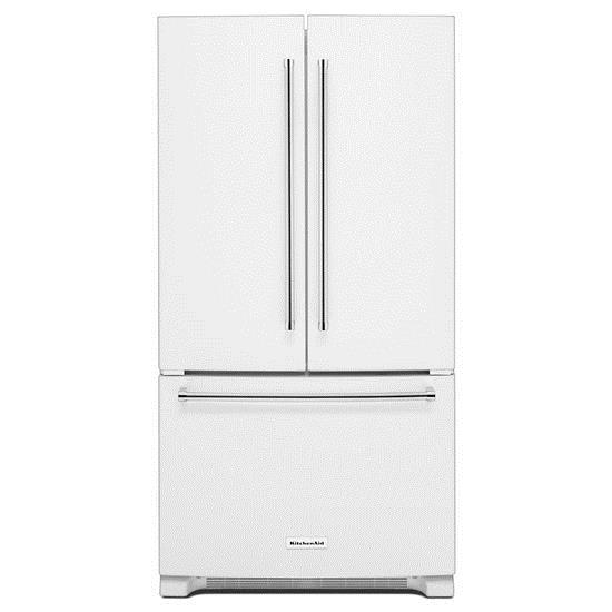 """KitchenAid KitchenAid French Door Refrigerators 25 Cu. Ft. 36"""" French Door Refrigerator - Item Number: KRFF305EWH"""