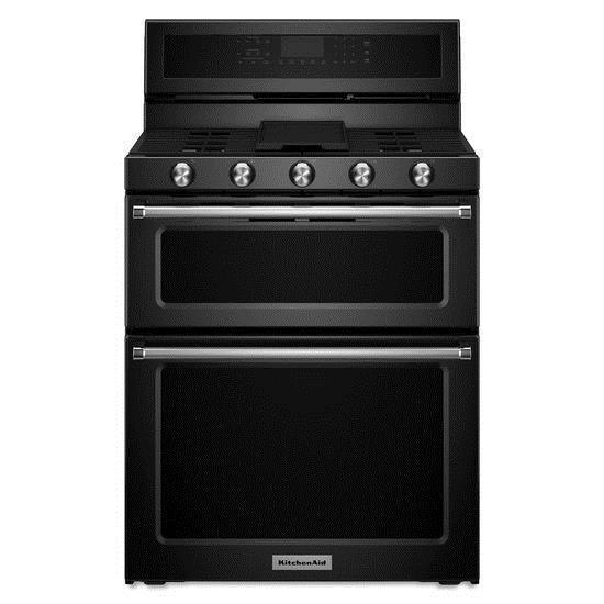 KitchenAid KitchenAid Gas Ranges 30-Inch 5 Burner Gas Double Oven Convection  - Item Number: KFGD500EBL