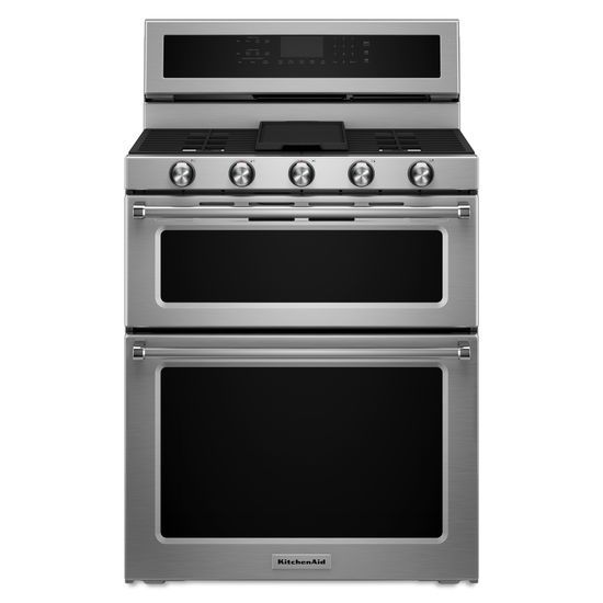 KitchenAid KitchenAid Gas Ranges 30-Inch 5 Burner Gas Double Oven Convection  - Item Number: KFGD500ESS