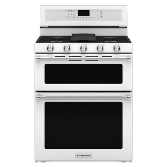 KitchenAid KitchenAid Gas Ranges 30-Inch 5 Burner Gas Double Oven Convection  - Item Number: KFGD500EWH