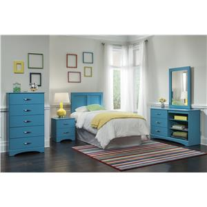 Kith Furniture 173 Turquoise Twin Bedroom Group