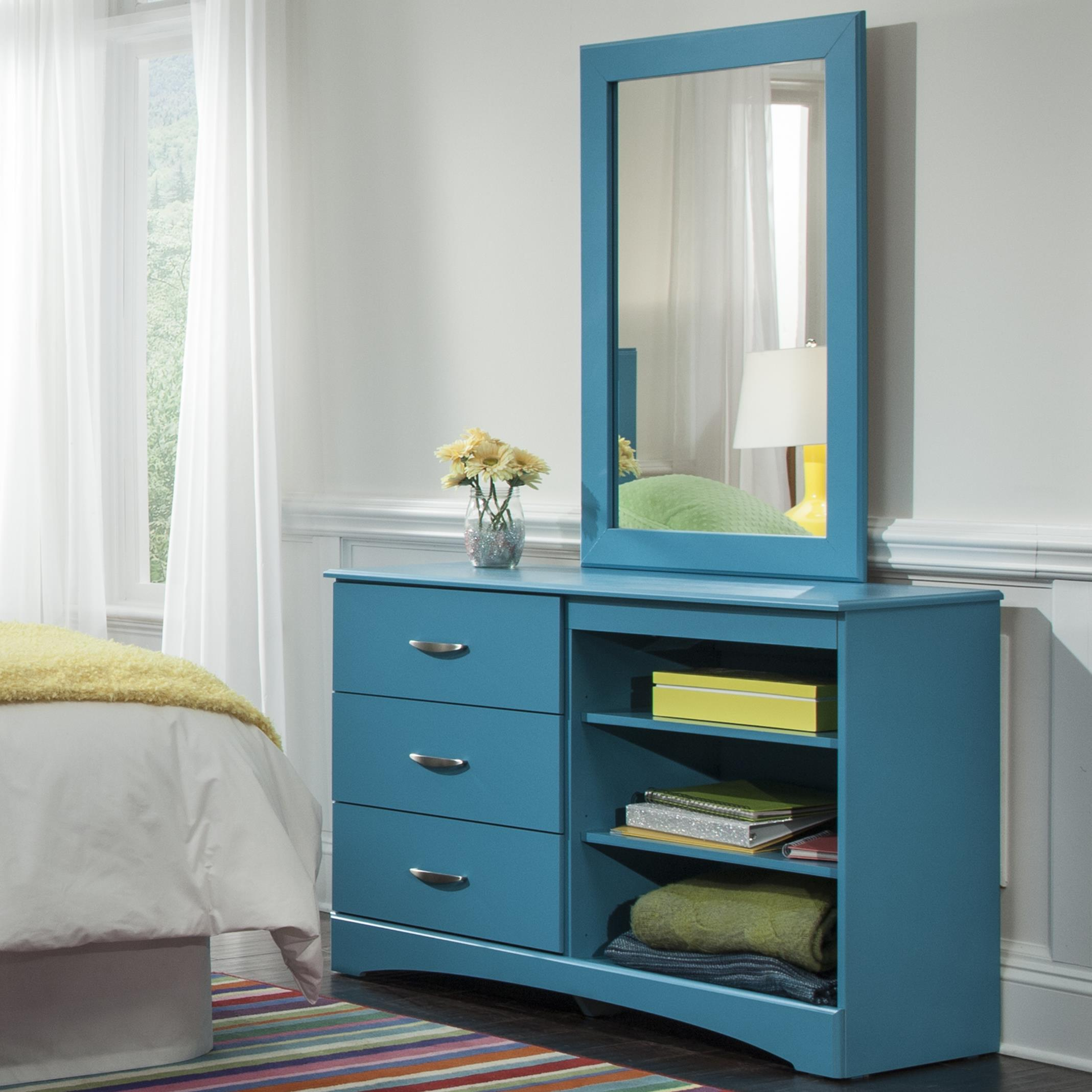 Kith Furniture 173 Turquoise Mirror and Dresser Set - Item Number: 173-01+12