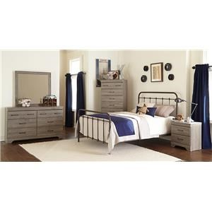 Kith Furniture Jourdan Creek Full Bed with Rails, Dresser, Mirror & Night