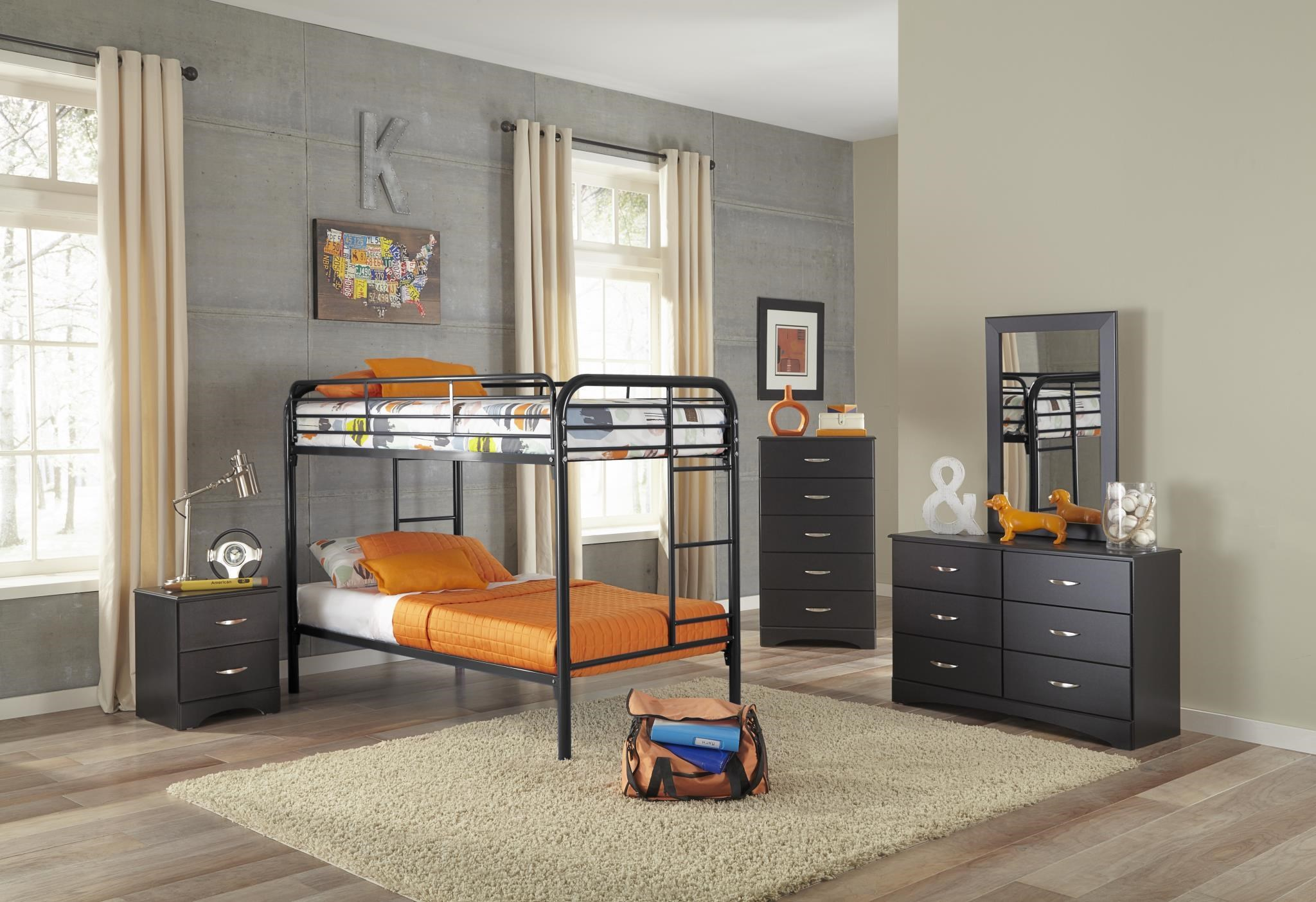Black Twin-Over-Twin Metal Bunkbed