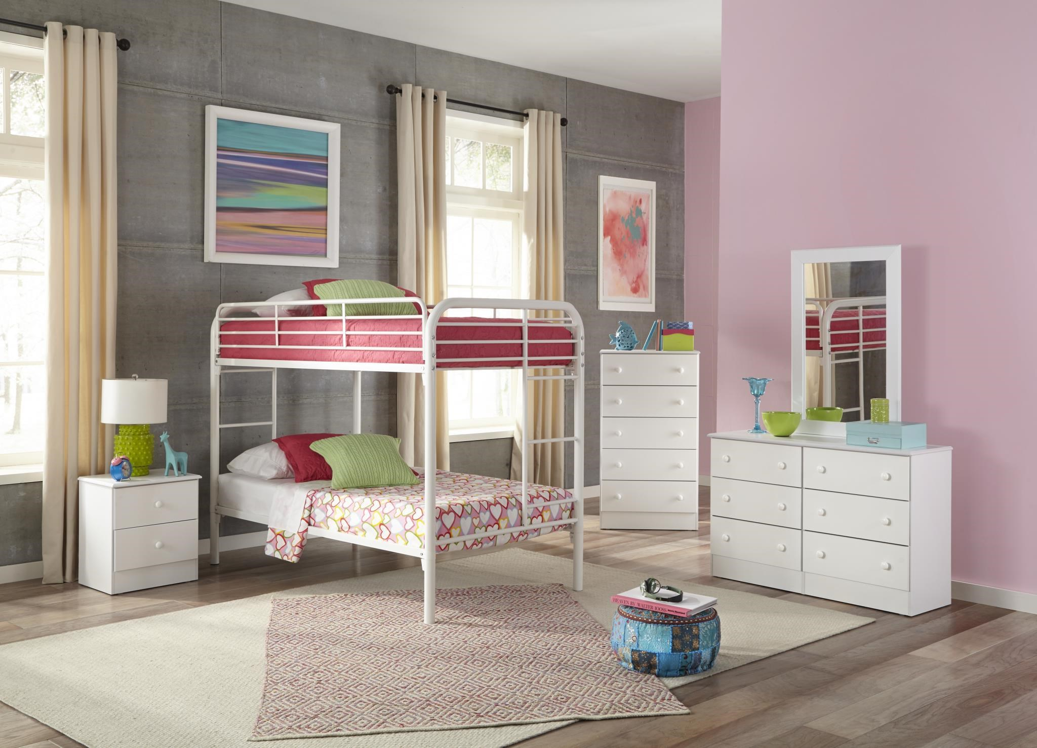 White Twin-Over-Twin Metal Bunkbed