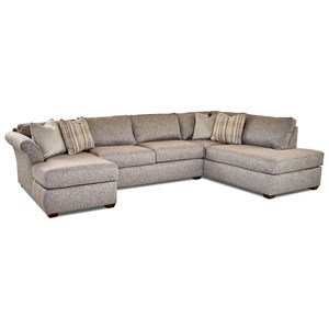 Jaxon Three Piece Sectional Sofa with Flared Arms and RAF Sofa Chaise  by Klaussner