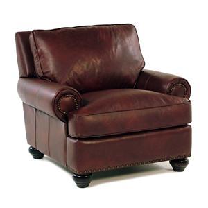 Simple Elegance Danbury Leather Chair w/ Nailhead Trim
