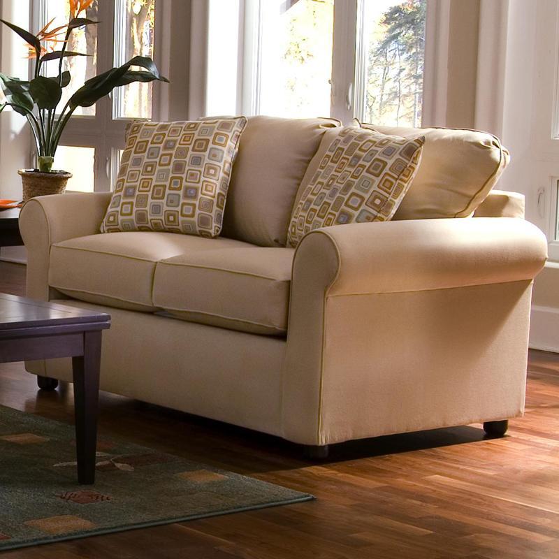 Klaussner brighton upholstered loveseat with rolled arms for Klaus k living room brunssi