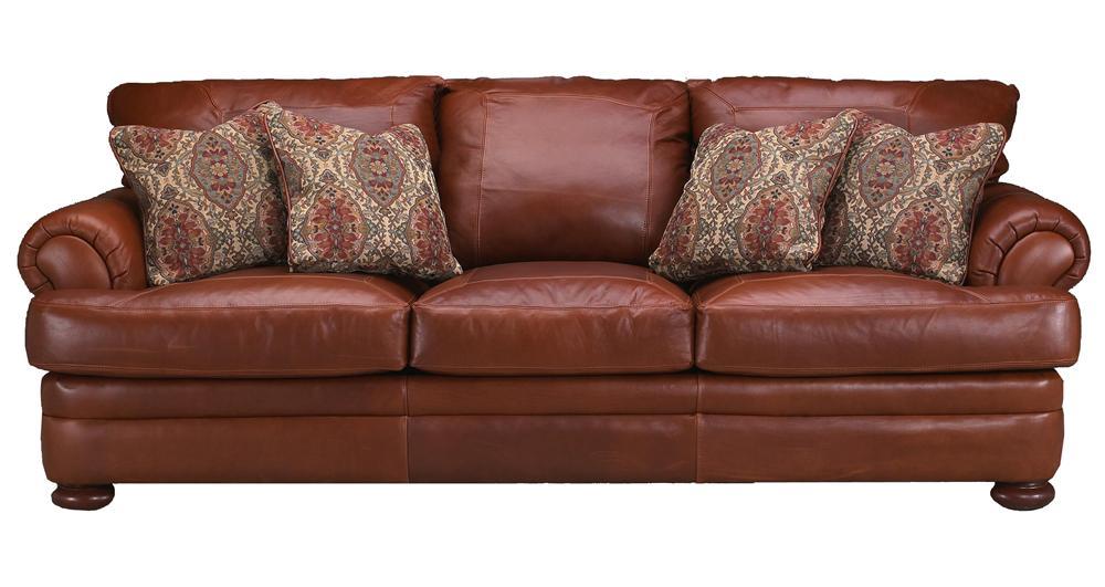 Klaussner Montezuma Casual Style Leather Sofa with Bun ...