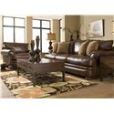 Klaussner Montezuma Casual Style Leather Sofa with Bun Feet - Sofa Shown with Chair.