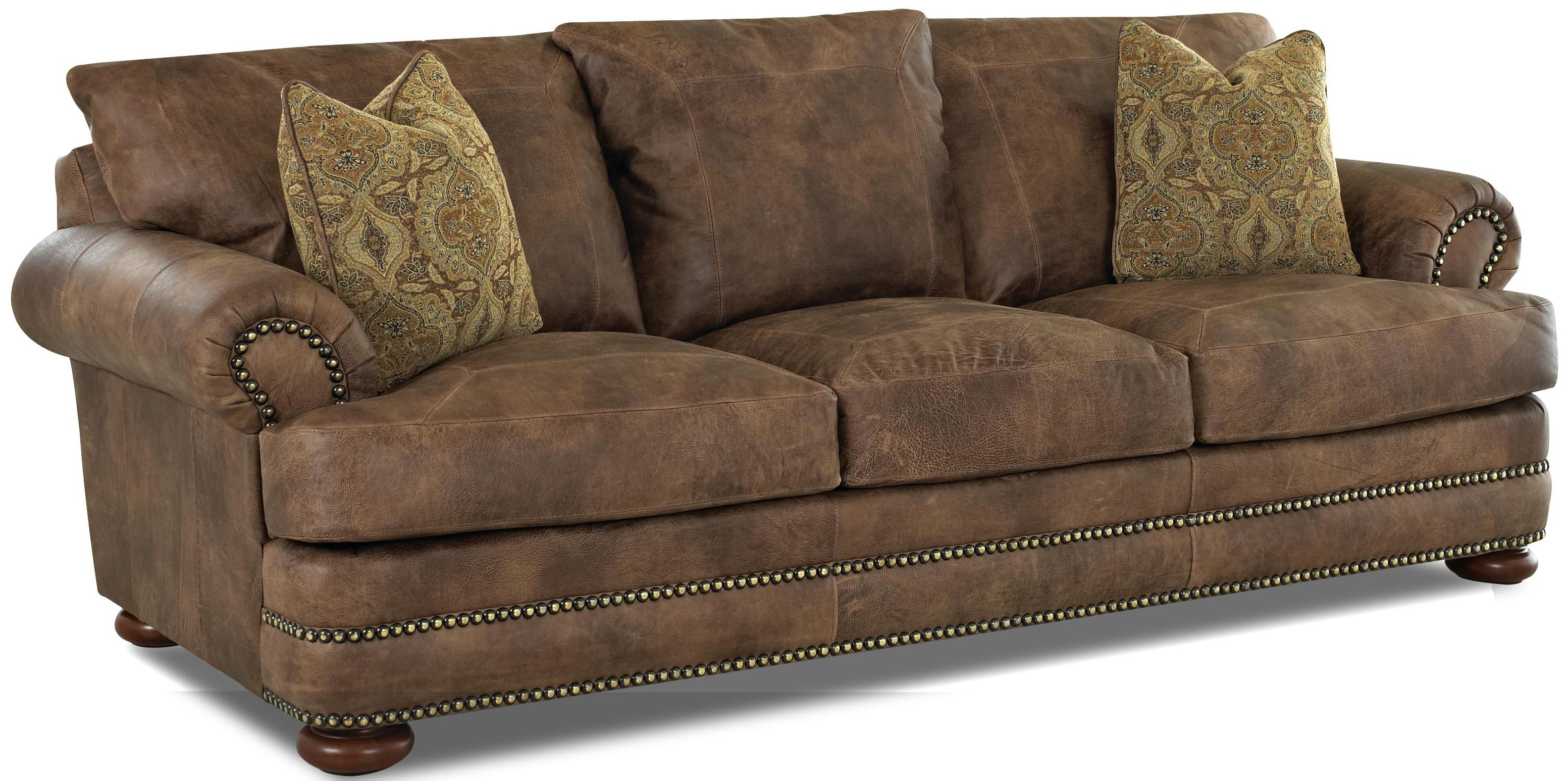 klaussner montezuma casual style leather sofa with bun johnny janosik sofas