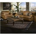 Elliston Place Montezuma Leather Casual Style Chair with Bun Feet - Chair Shown with Sofa.