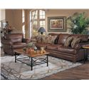 Klaussner Montezuma Leather Casual Style Chair with Bun Feet - Chair Shown with Sofa.