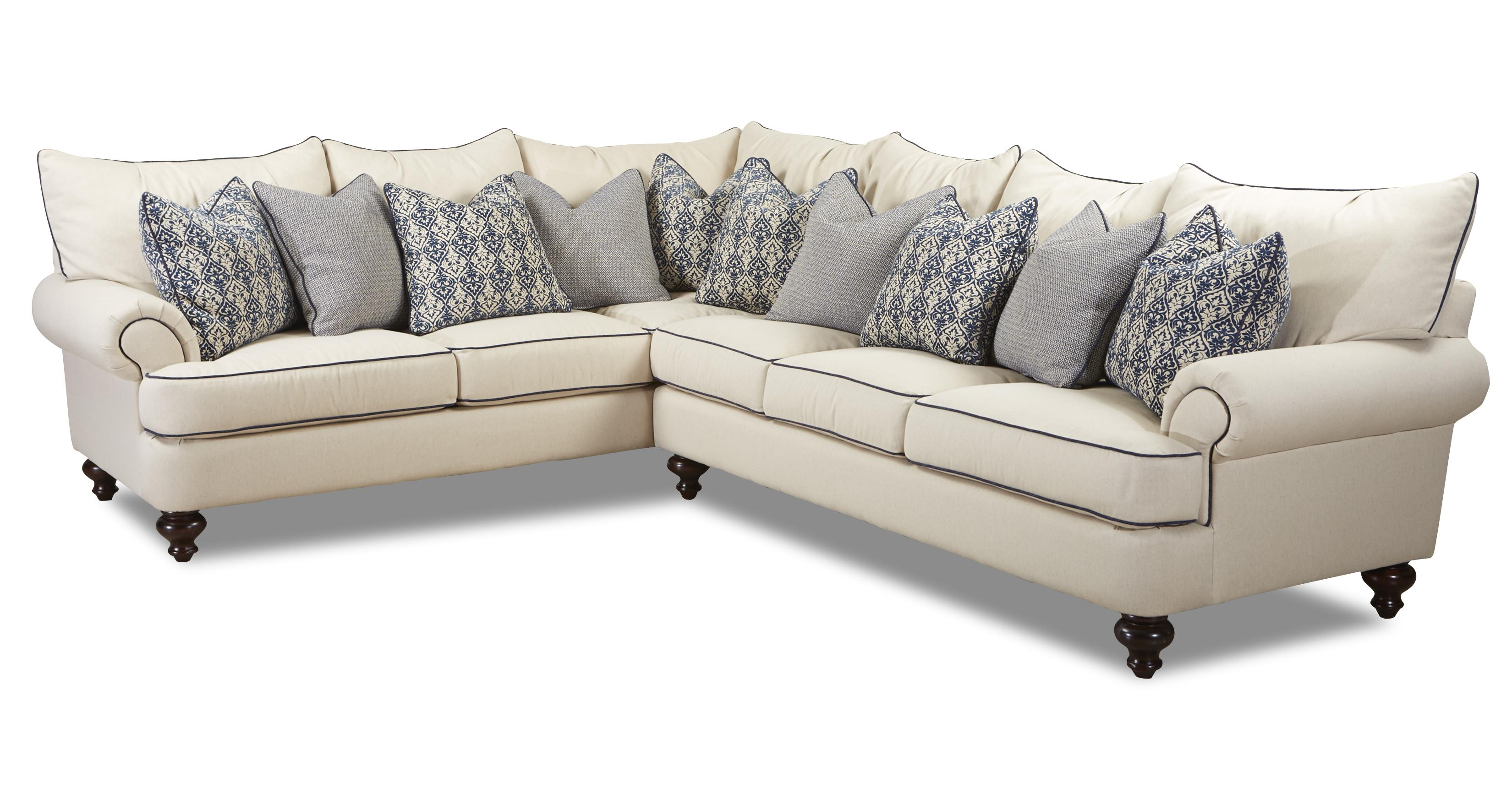 Klaussner Ashworth Shabby Chic Sectional Sofa Wayside