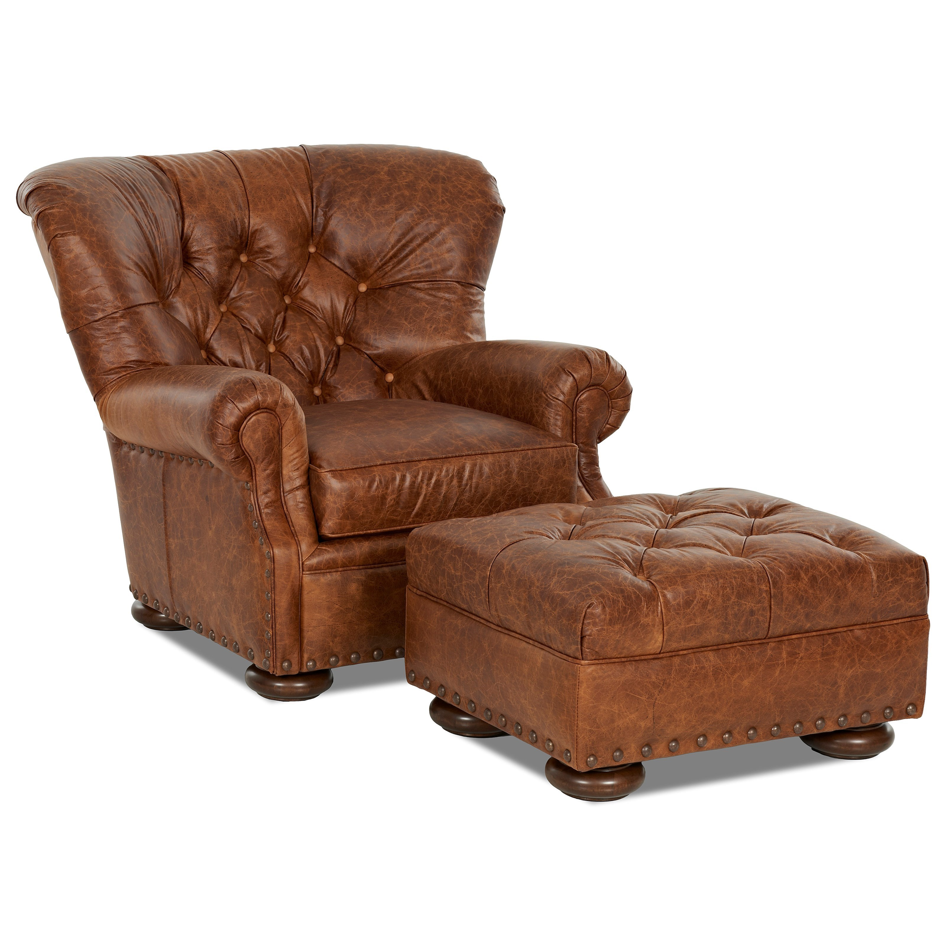 Klaussner Aspen Tufted Leather Chair and Ottoman Set ...