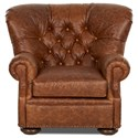 Klaussner Aspen Tufted Leather Chair and Ottoman Set