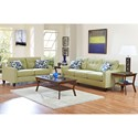 Klaussner Audrina Mid-Century Modern Style Loveseat with Tufted Cushions - Shown with Alternate Pillows