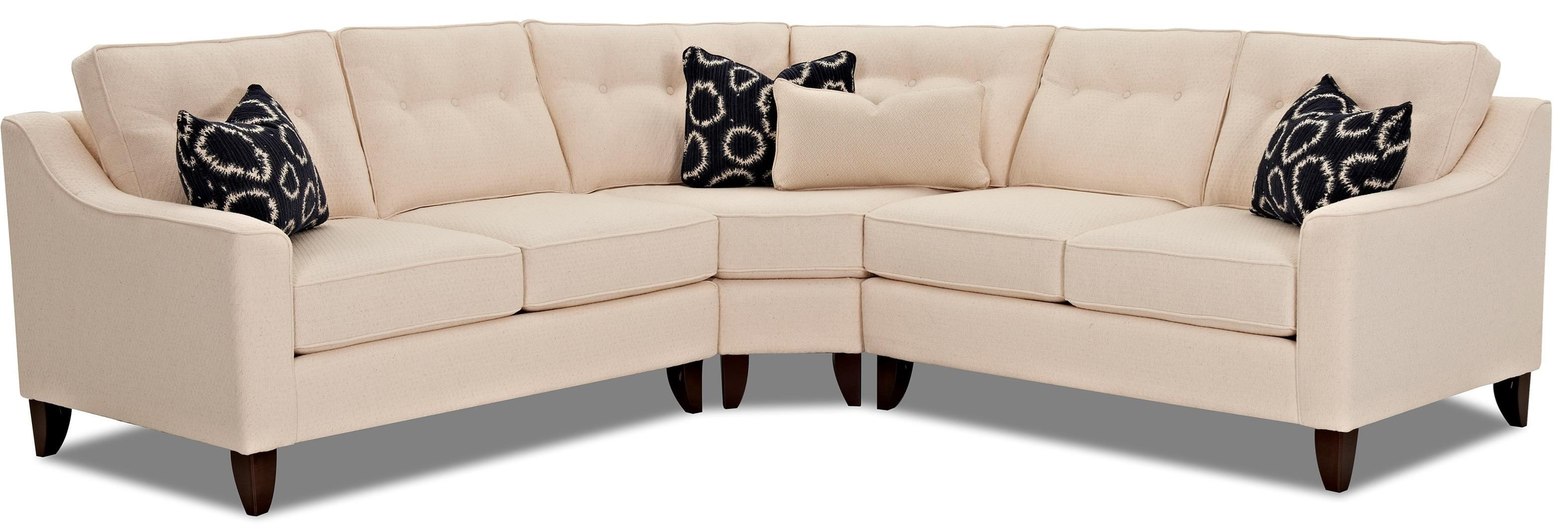 Klaussner Audrina Contemporary 3 Piece Sectional With Wedge  ~ How To Measure A Sectional Sofa With Wedge