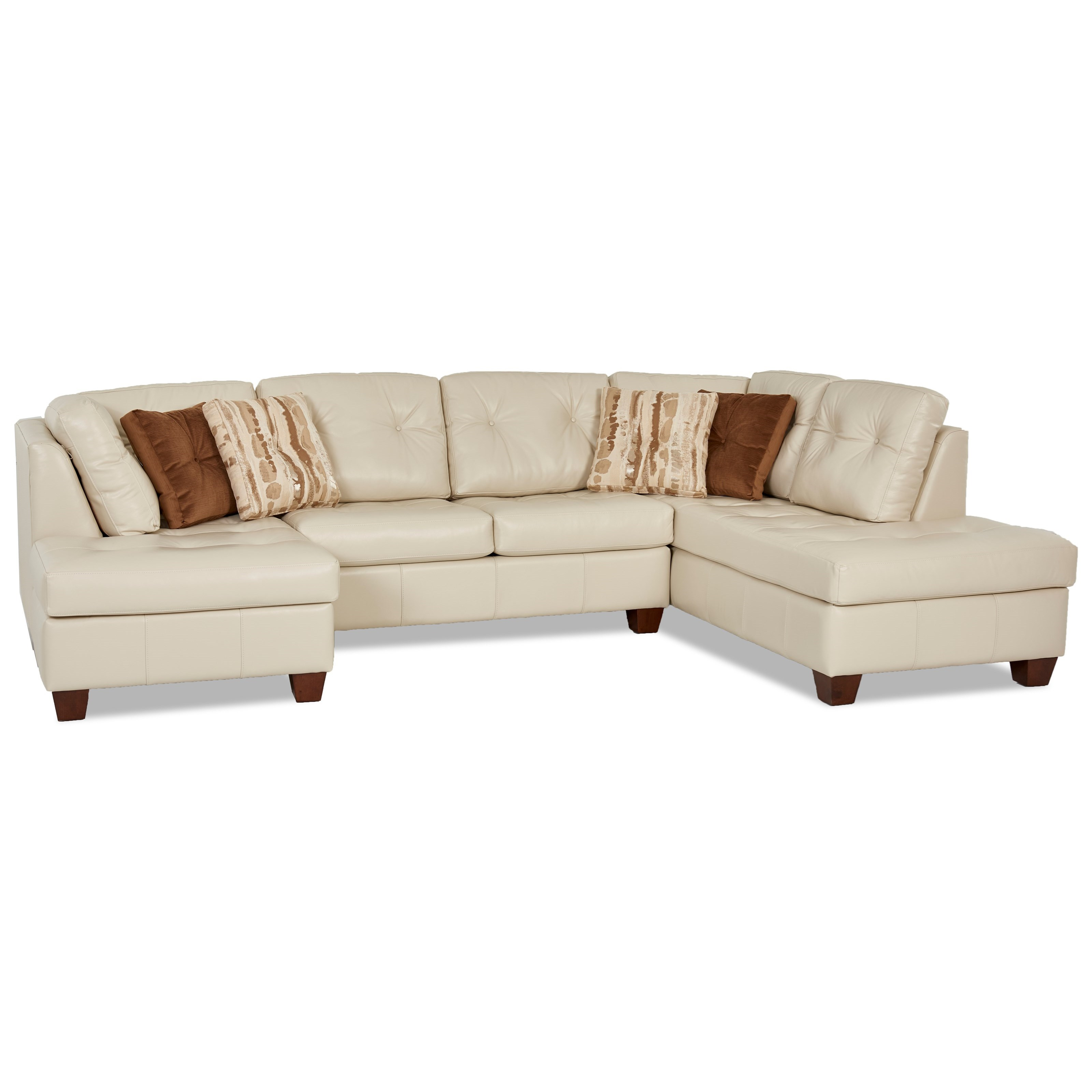Klaussner Barton 3 Piece Sectional with Tufted Seats Wayside