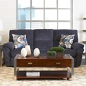 Klaussner Bateman PW3RS Ends w/Pwr, Ctr-Manual Sofa w/ Pillows - Item Number: 64703P PW3RS-MOGO JEANS