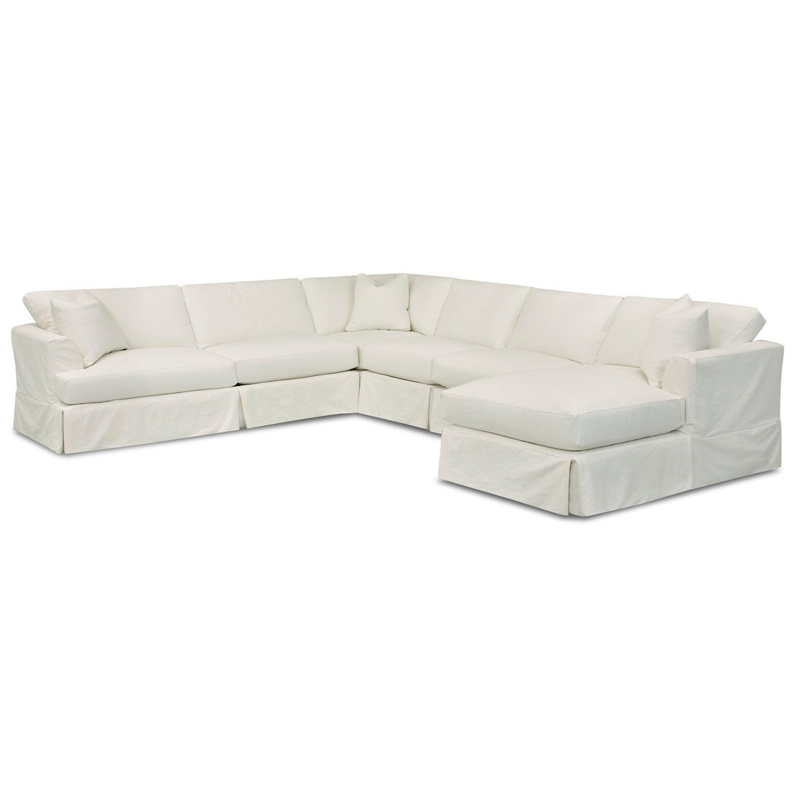 Klaussner Bentley 5 Seat Slipcover Sectional Sofa With Raf