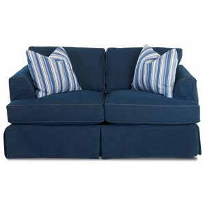 Slipcover Loveseat with Flared Track Arms