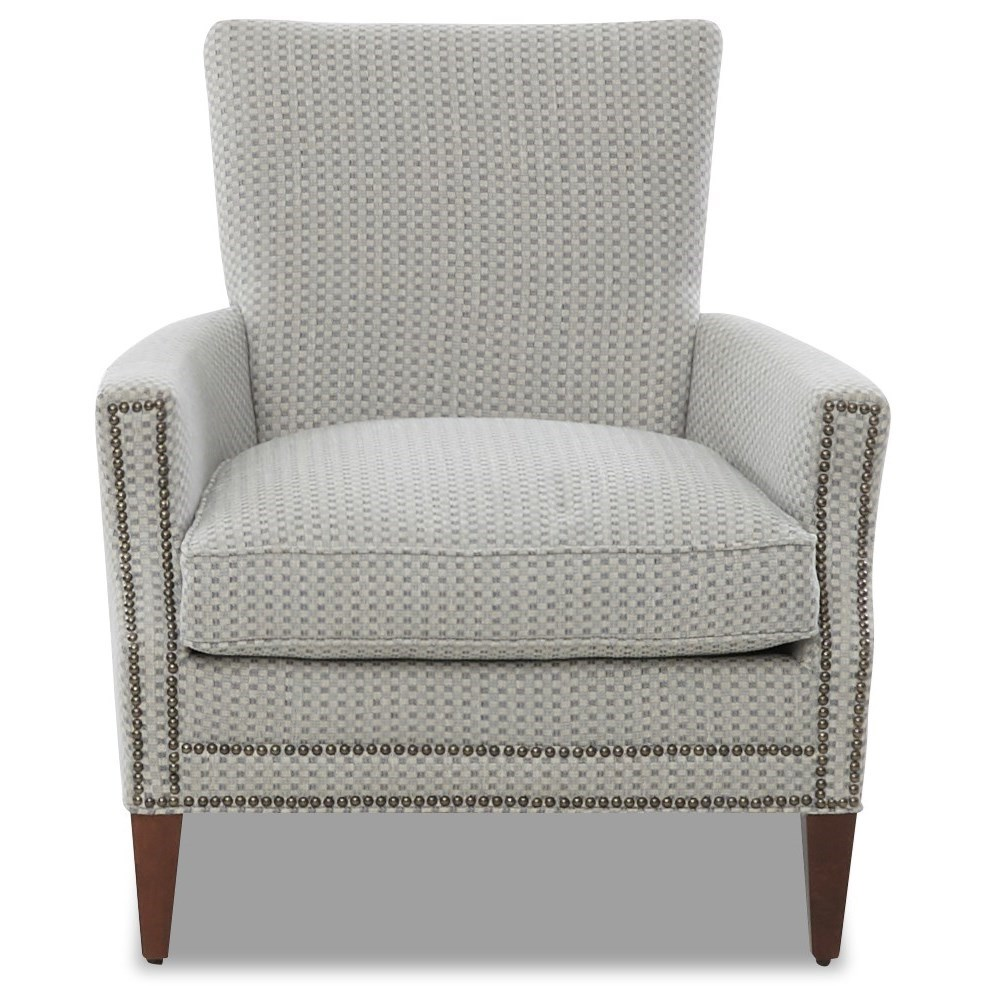 Bergdorf Chair with Nailhead Trim by Klaussner at Johnny Janosik