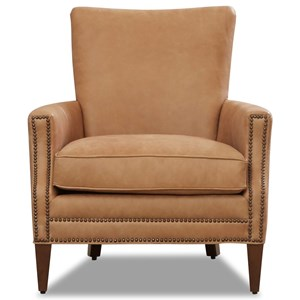 Leather Chair with Nailhead Trim