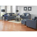 Klaussner Bosco Contemporary Love Seat with Loose Back Pillows and Track Arms