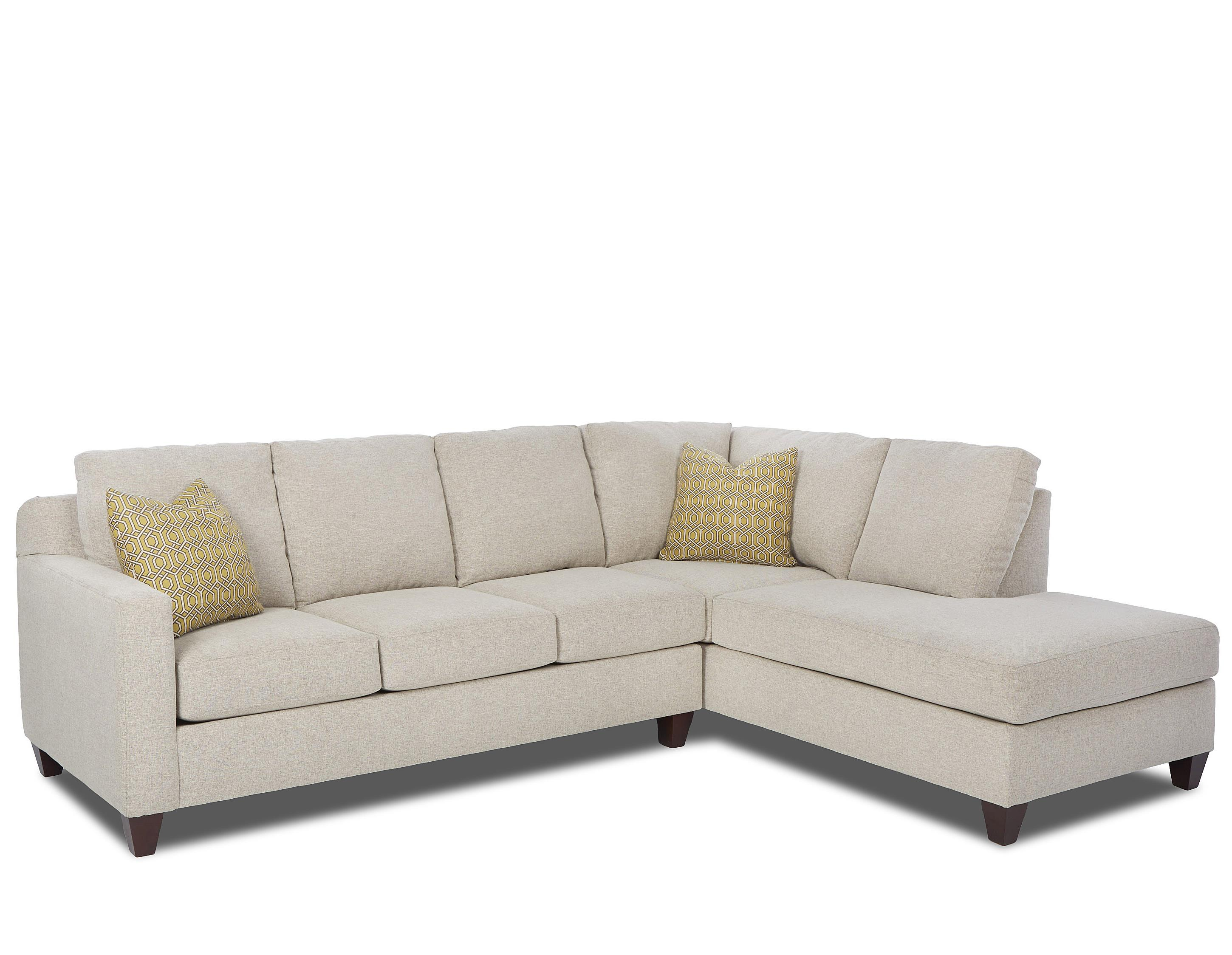 Klaussner Bosco Contemporary 2 Piece Sectional with Right Arm