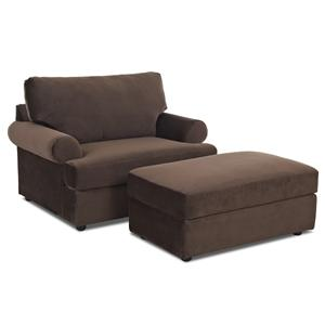 Klaussner Briggs Causal Chair and Ottoman Set