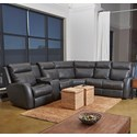 Klaussner Brooks 4-Seat Reclining Sectional w/ LAF Console - Item Number: LV71703L CRLS+90SEW+AC+R RC-HOPK CH