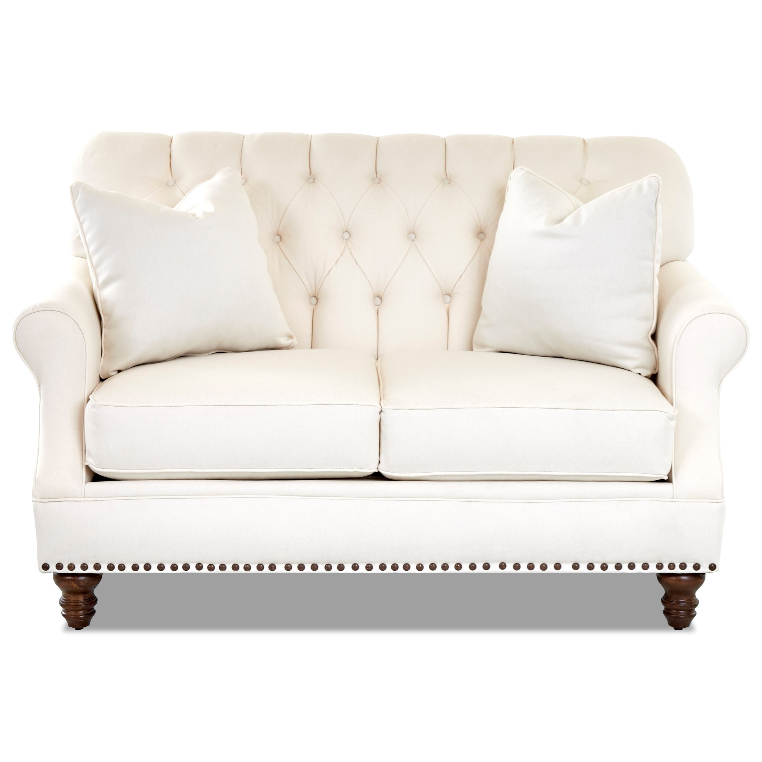 Burbank Loveseat w/ Nailheads by Klaussner at Northeast Factory Direct
