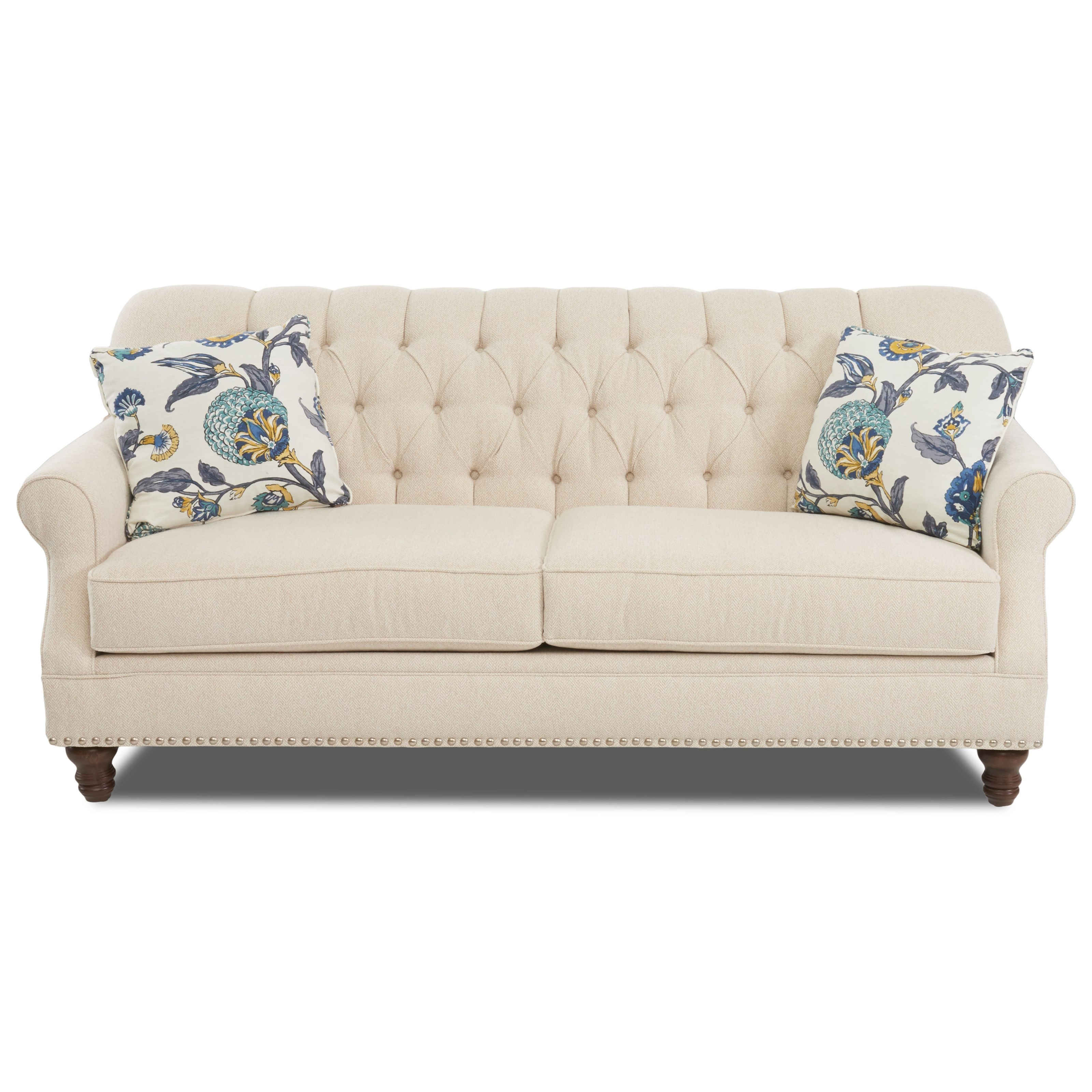 Klaussner burbank traditional tufted apartment size sofa with nailheads wayside furniture sofas - Apartment size sectional sofa ...
