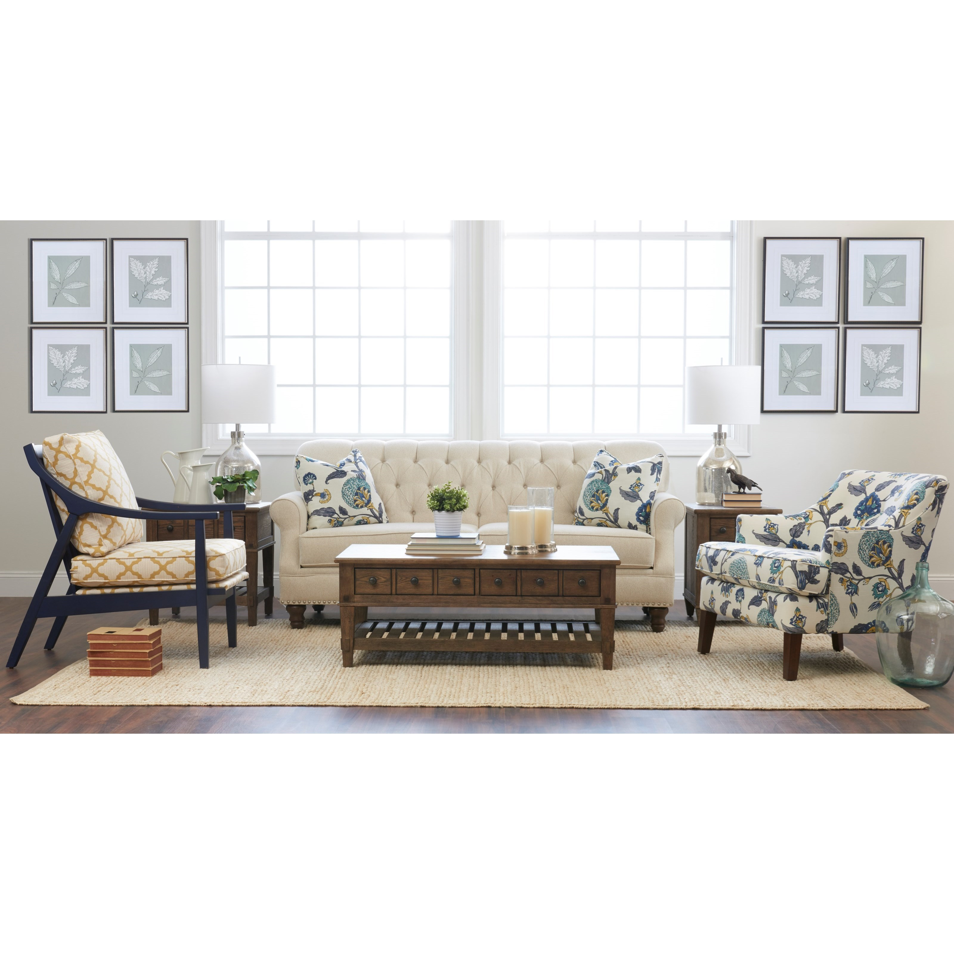 Klaussner burbank k96810 s traditional tufted apartment size sofa with nailheads dunk bright - Apartment size sectional sofa ...