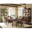 Morris Home Furnishings Edinburgh <b>Special Order</b> Square Back Dining Room Arm Chair with Upholstered Seat - Shown with Dining Room Table, Dining Room Side Chairs &amp; China Cabinet